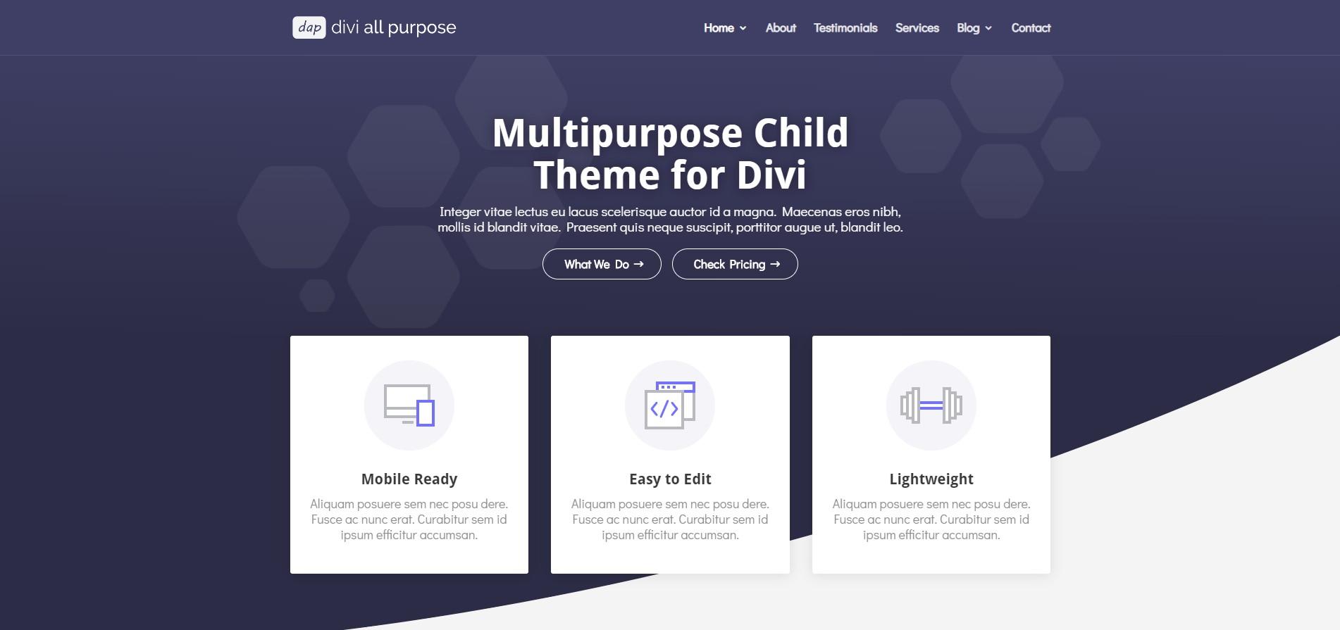 Multipurpose child theme